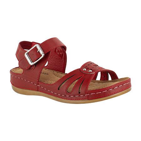 Easy Street Womens Rosalyn Strap Sandals, 9 Medium, Red