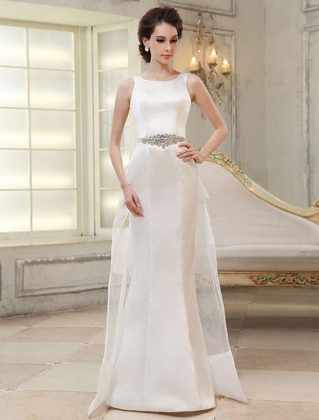 Milanoo Sweep Ivory Jewel Neck Sheath Bridal Wedding Gown with Bow