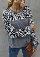 Leopard Color Block Splicing Fleece Sweatshirt - Gray