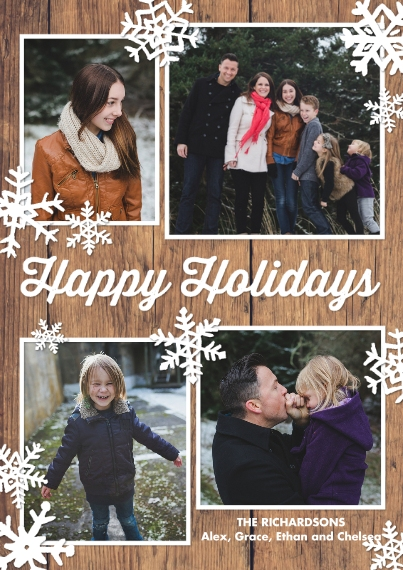 Holiday Photo Cards Flat Glossy Photo Paper Cards with Envelopes, 5x7, Card & Stationery -Holiday Rustic Bold Snowflakes