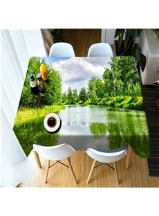 3D Green Mountains and Clean Water Printed Thick Polyester Oil-Proof Table Cover
