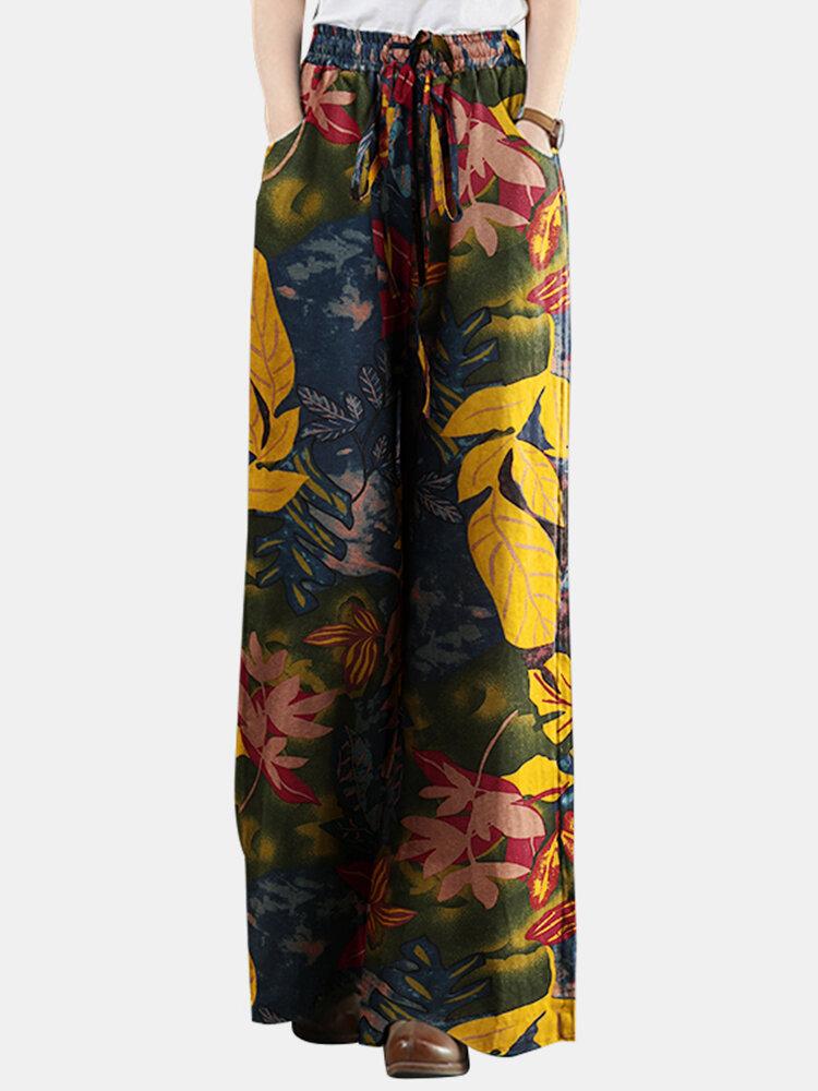 Leaf Printed Elastic Waist Straight-Legged Pants For Women