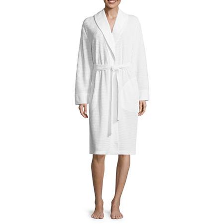 Liz Claiborne Womens Knit Robe Long Sleeve Mid Length, Large , White