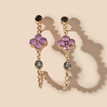 Metal Rhinestone Decor Earrings