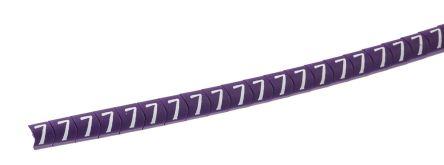 HellermannTyton Helagrip Slide On Cable Marker, Pre-printed 7 White on Violet 2 → 5mm Dia. Range
