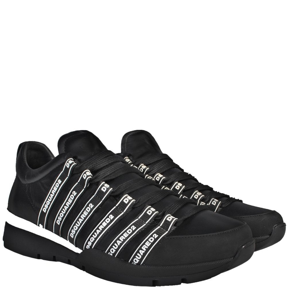 Dsquared2 Dsquared Logo Lace-Up Low Top Sneakers Colour: BLACK, Size: