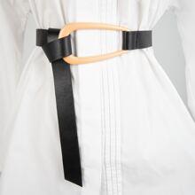 Geometric Decor PU Belt