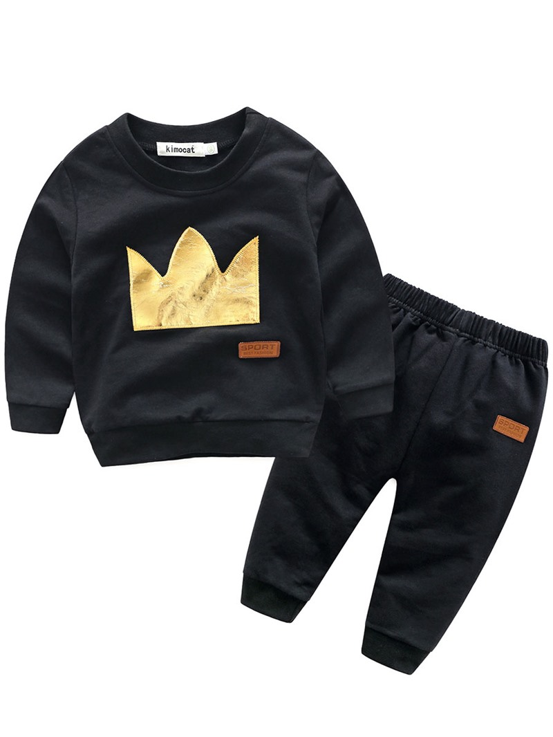 Ericdress Crown Pattern Long Sleeve And Pant Baby Boys Fall Outfit