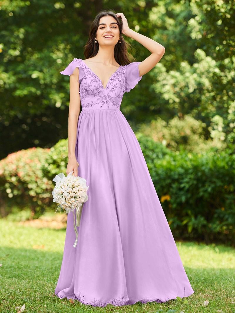 Ericdress Cap Sleeve 3D Floral Beading Bridesmaid Dress