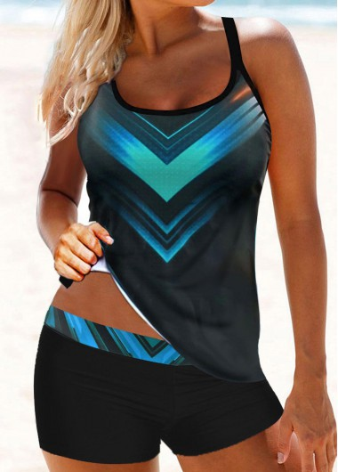 Scoop Neck Geometric Print Tankini Set - L