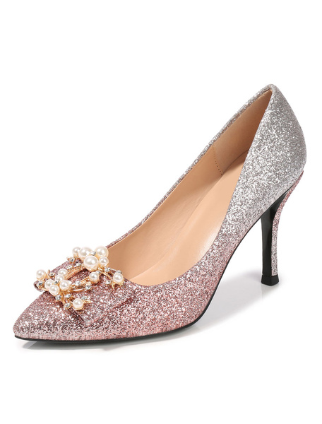 Milanoo Silver Prom Shoes Glitter Low Heel Pointed Toe Pumps Party Shoes