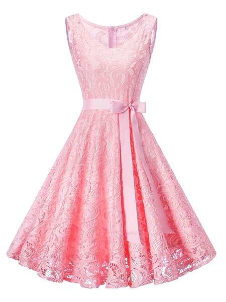 Milanoo Lace Vintage Dresses V Neck Bow Sash Sleeveless Swing Dresses