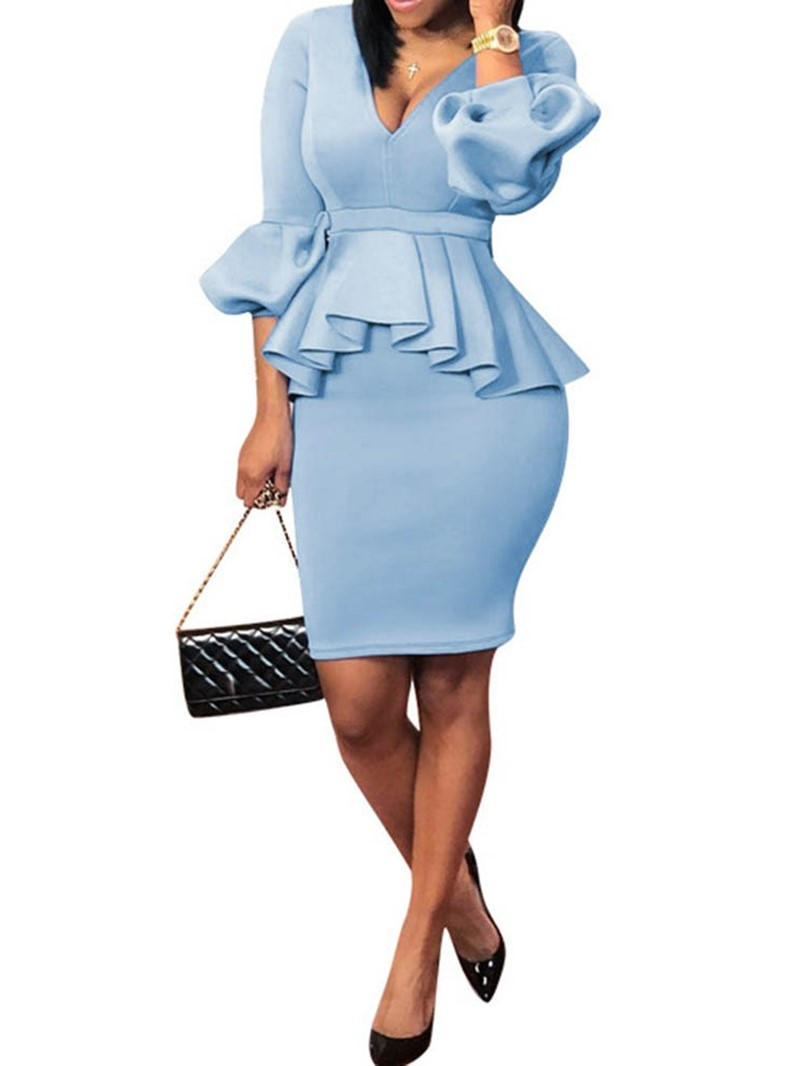 Ericdress Skirt Plain Fashion V-Neck Bodycon Two Piece Sets