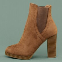 Almond Toe Stretch Sides Stacked Heel Ankle Boots
