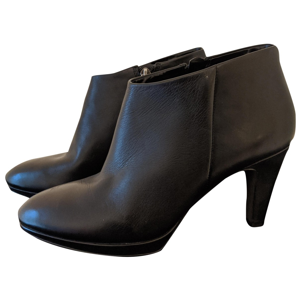 Non Signé / Unsigned \N Black Leather Ankle boots for Women 7 UK