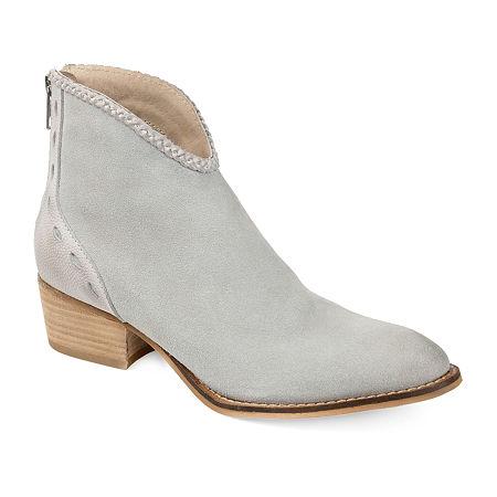 Journee Signature Womens Gracie Booties Stacked Heel, 6 1/2 Medium, Gray