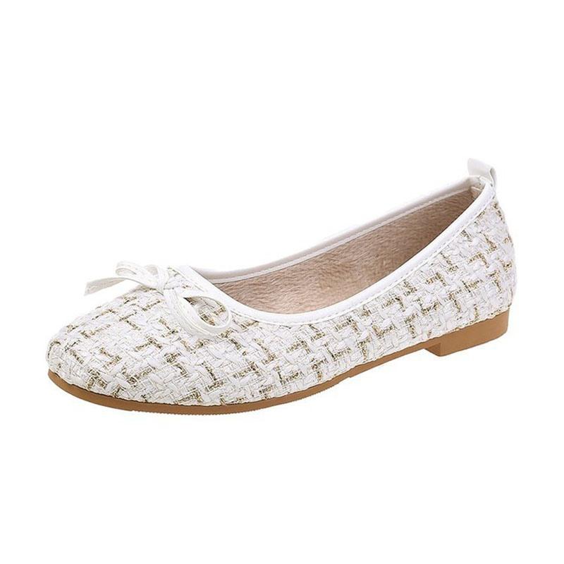 Ericdress Bowknot Block Heel Round Toe Sweet Women's Flats