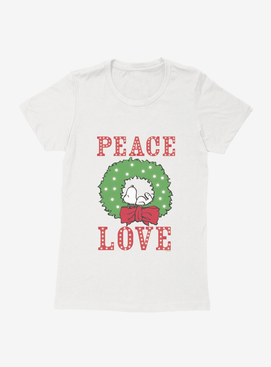 Peanuts Christmas Peace & Love Snoopy Nap Womens T-Shirt