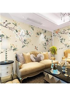 Birds Pattern Natural Style Non-woven Fabrics Environment Friendly Waterproof Wall Mural