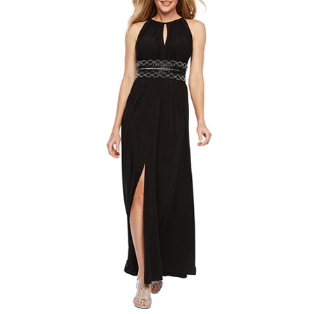 R & M Richards Sleeveless Embellished Halter Evening Gown, 10 , Black