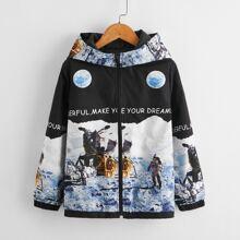 Boys Slogan Graphic Zipper Placket Jacket