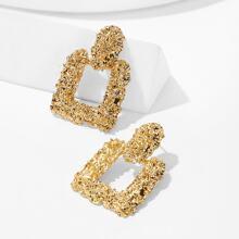Textured Square Drop Earrings 1pair