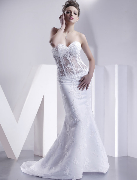 Milanoo White Wedding Dresses Strapless Mermaid Bridal Dress Lace Applique Sweetheart Neckline Boned Illusion Train Wedding Gown