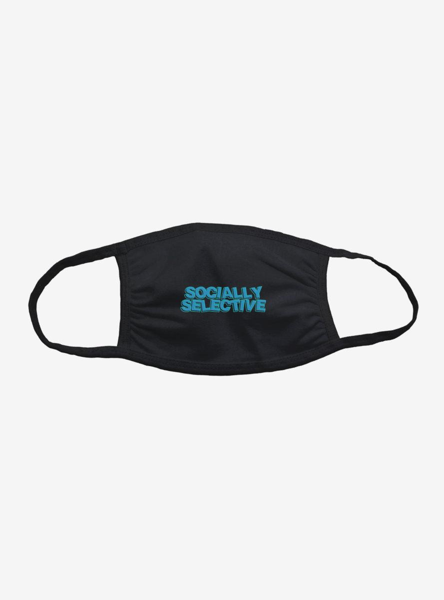 Socially Selective Blue Script Face Mask