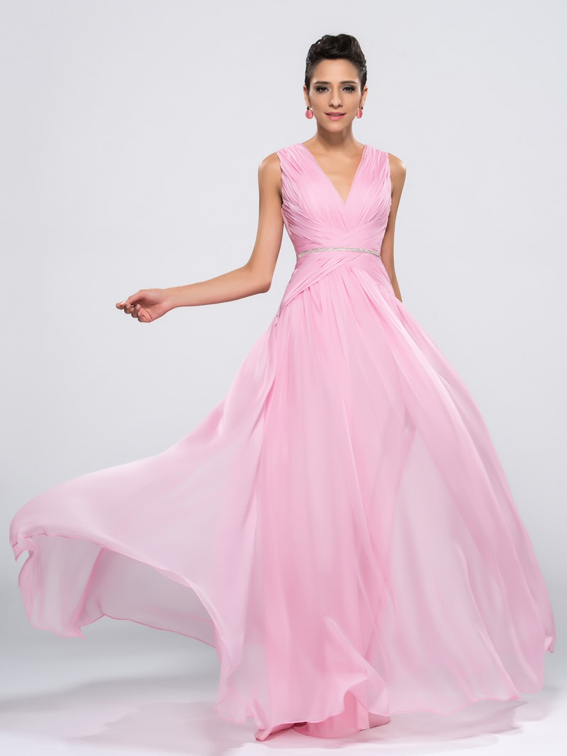 Elegant Concise Double V-Neck A-Line Floor Length Evening Dress
