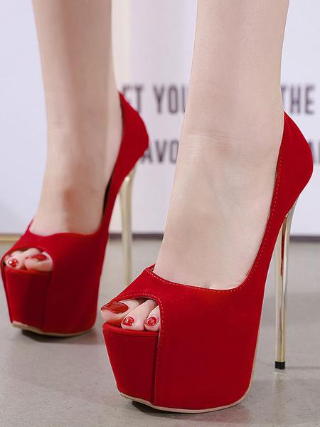 Milanoo Women Peep Toe Pumps Stiletto Heel Chic PU Rubber Sexy Peep Toe Pumps