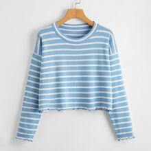 Lettuce Trim Striped Sweater
