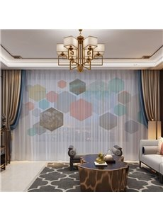 3D Fantastic and Colorful Hexagons Printed Modern Style 2 Panels Custom Sheer