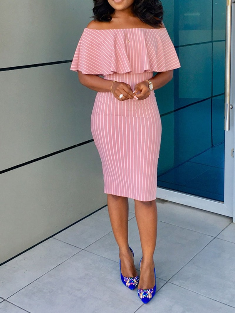 Ericdress Half Sleeve Knee-Length Off Shoulder Pullover Mid Waist Dress