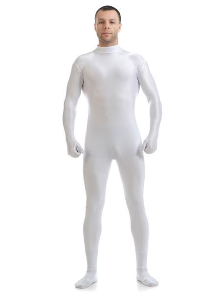 Milanoo White Morph Suit Adults Bodysuit Lycra Spandex Catsuit for Men