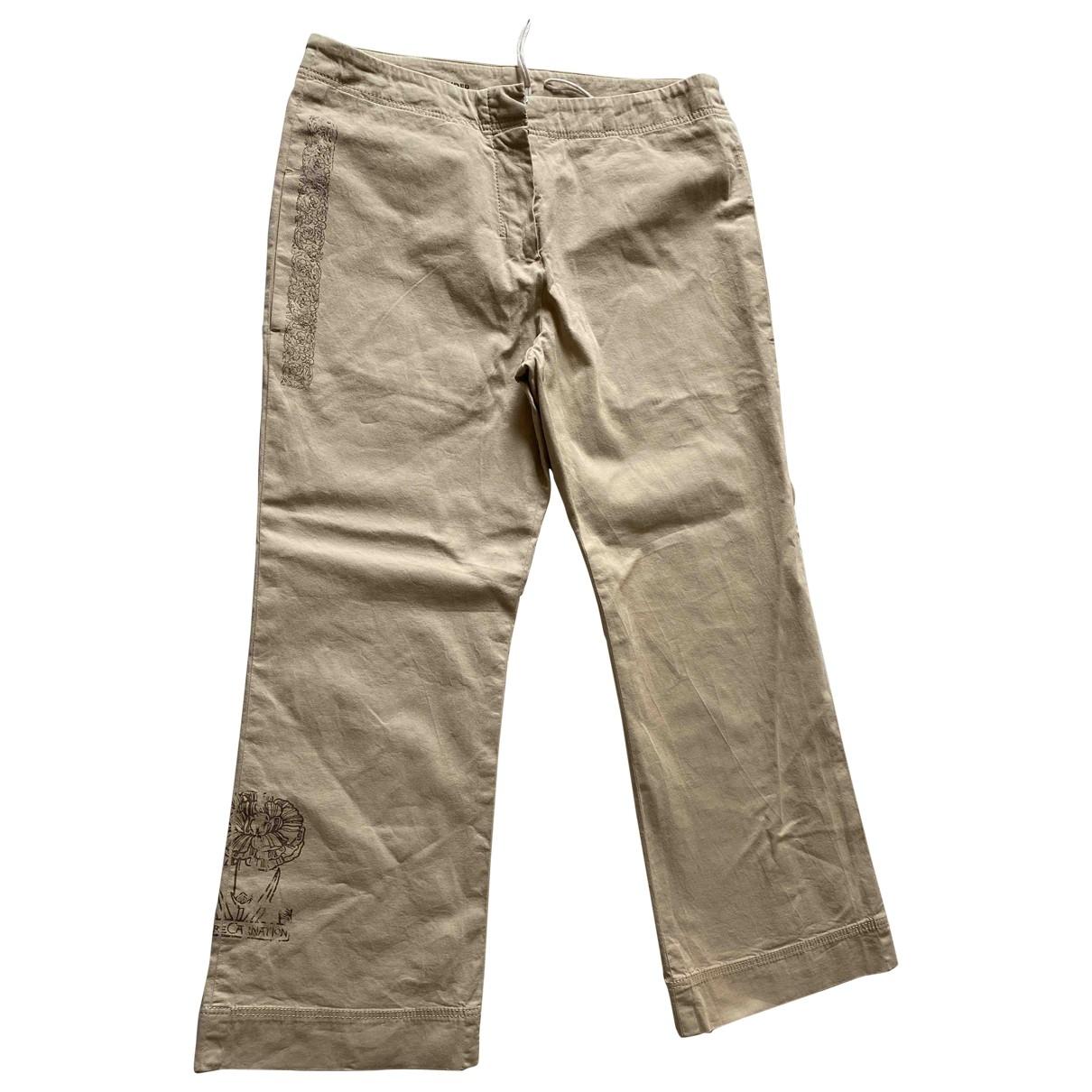 Jil Sander \N Khaki Cotton Trousers for Women 44 IT