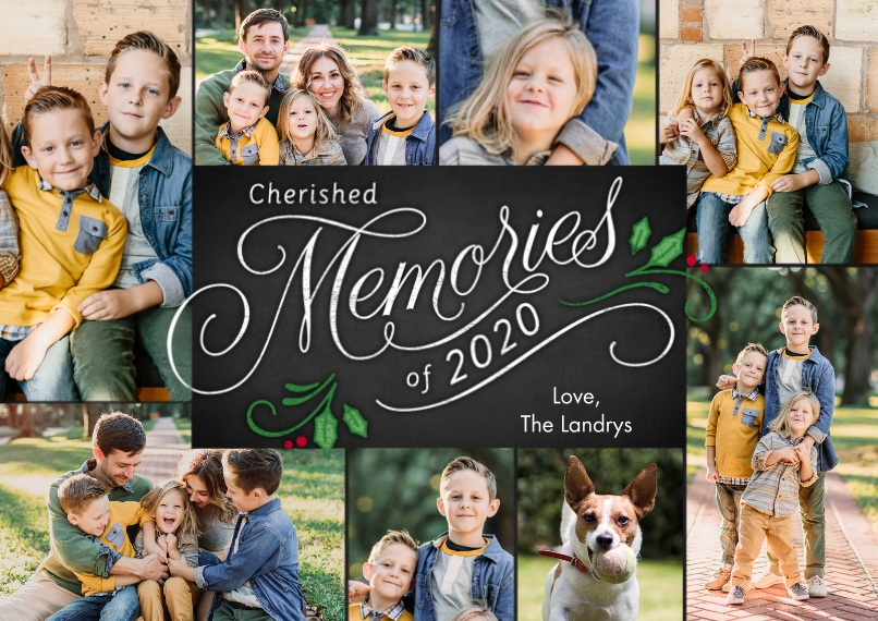Christmas Photo Cards 5x7 Cards, Premium Cardstock 120lb with Scalloped Corners, Card & Stationery -2020 Cherished Memories Collage by Hallmark