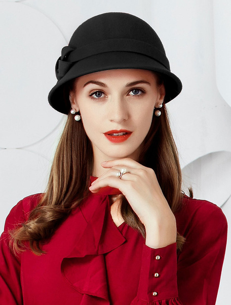 Milanoo Red Vintage Cloche Hats Bows Women Wool Hat