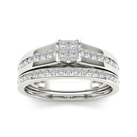 1/2 CT. T.W. Diamond 10K White Gold Bridal Set Ring, 6 , No Color Family