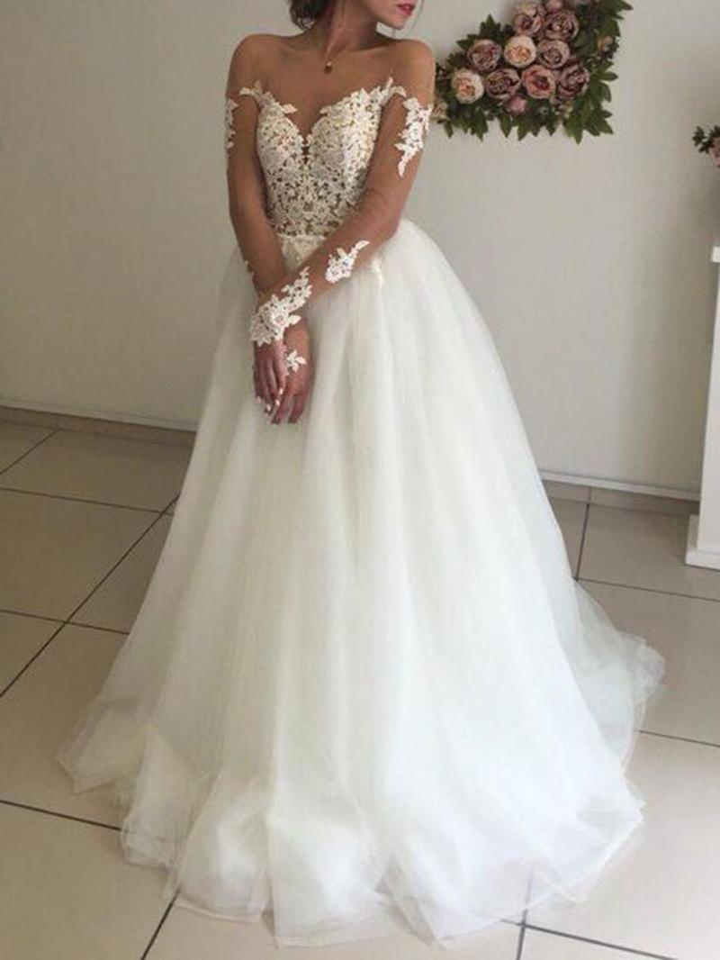 Ericdress Long Sleeves Appliques Plus Size Wedding Dress
