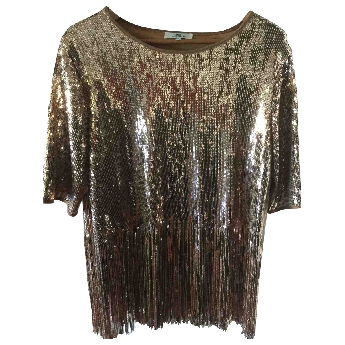Non Signé / Unsigned Hippie Chic Brown Glitter  top for Women M International