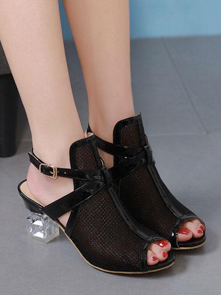 Milanoo Mid Heel Sandals Womens Nets Peep Toe Block Heel Sandals
