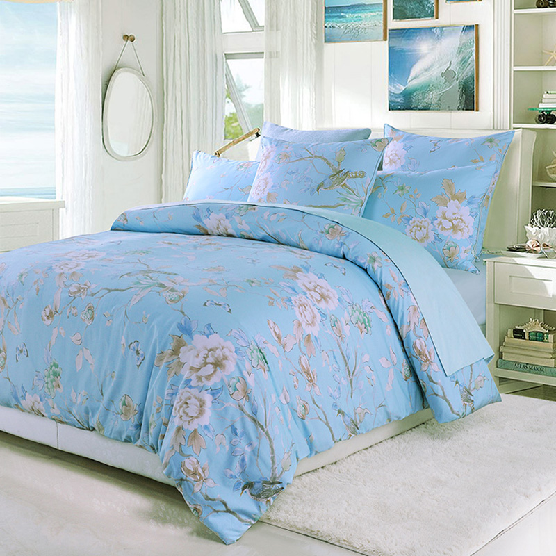 Plant Duvet Cover Set Colorfast Wear-resistant Reactive Printing Four-Piece Set Polyester Bedding Sets Fitted Sheet