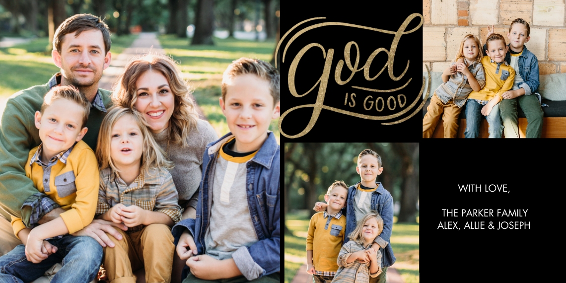 Christmas Photo Cards Flat Glossy Photo Paper Cards with Envelopes, 4x8, Card & Stationery -Christmas Script God is Good by Tumbalina
