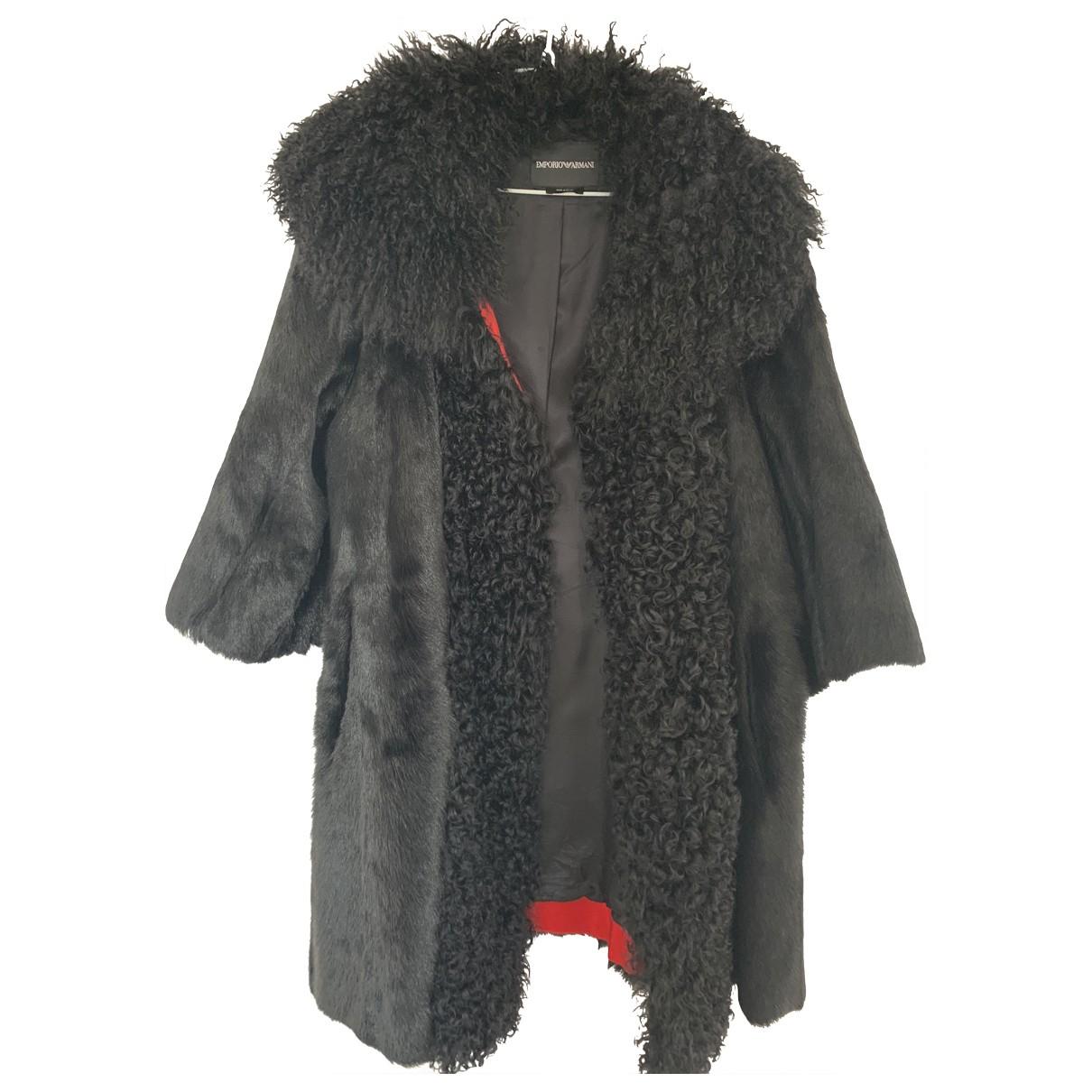 Emporio Armani \N Black Fur coat for Women 40 IT