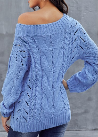 Trendy Rib Knit Skew Neck Long Sleeve Sweater - XL