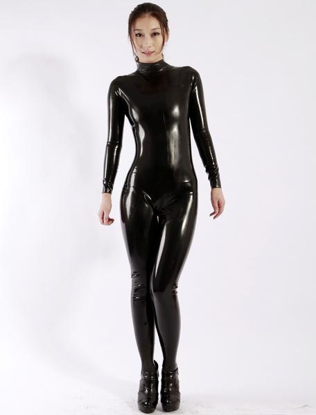 Milanoo Latex Catsuits Black Unisex Halloween Bodysuit Halloween