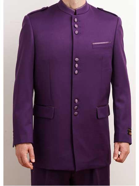 Mens Collarless Blazer Nehru Jacket Marriage Groom Wedding Purple