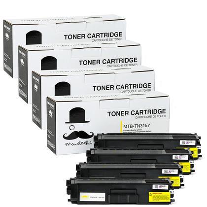 Compatible Brother TN315Y cartouche de toner jaune haute capacite - Moustache@ - 4/paquet