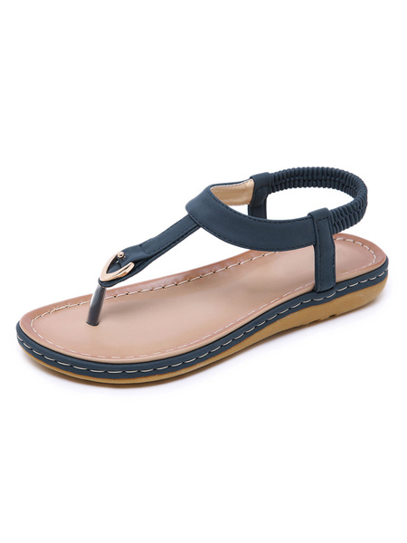 Milanoo Women Flat Sandals Flat PU Leather Elegant