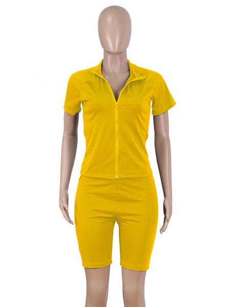 Milanoo Two Piece Sets Summer Tracksuit Top With Biker Shorts